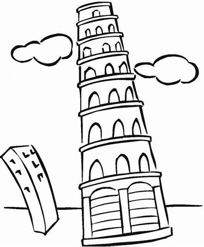 Torre Pisa Colorear Dibujos Coloring Tower Buildings