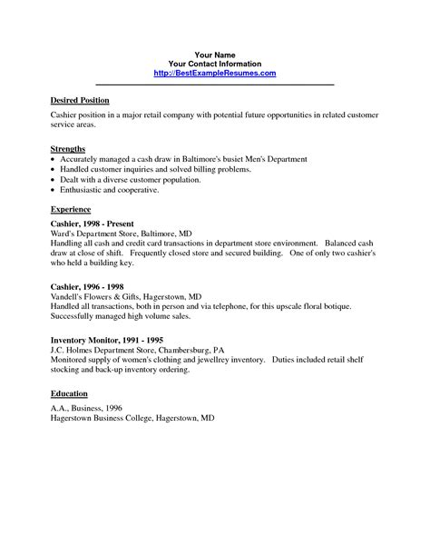 Resume For Cashier In Retail by Sle Resume For Department Store Cashier Danaya Us
