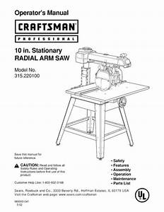 Craftsman 315 220100 Radial Arm Saw Owners Instruction
