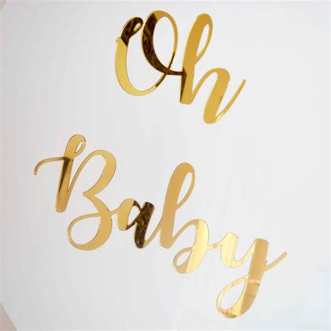 baby gold mirrored sign styled event hire