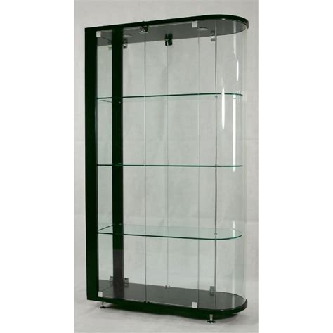 curio cabinets with glass doors contemporary living room style with curved end glass curio