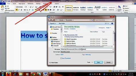 How To Save Or Create New File In Microsoft Word 2010 Youtube
