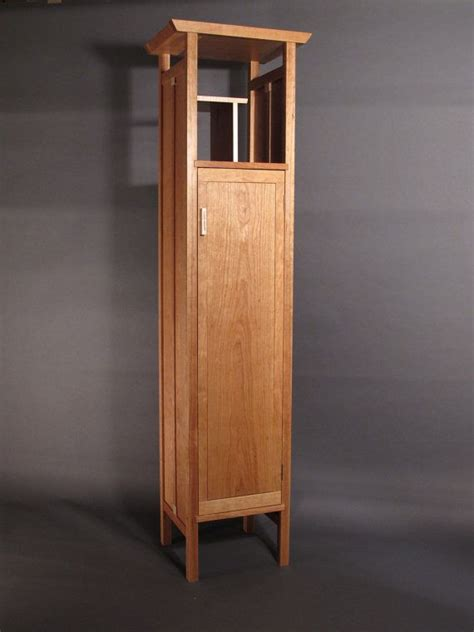 custom made linen cabinets tall narrow armoire cabinet in cherry handmade custom