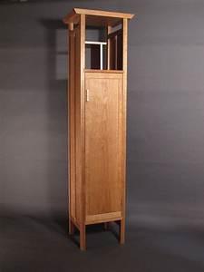Tall Narrow Armoire Cabinet In Cherry Handmade Custom
