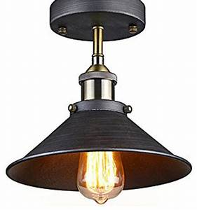 Antique industrial edison semi flush ceiling lamp vintage