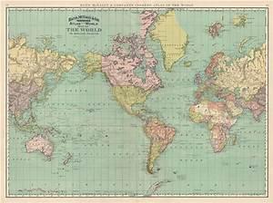 high res vintage map world