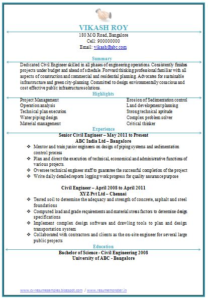 civil engineering resume   engineering resume job