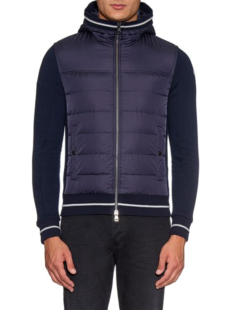 moncler sweater moncler maglia quilted hooded sweater in blue for