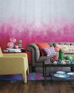 Wand Farbig Streichen Ideen : wohnzimmer wandgestaltung mit farbe ombre wand streichen ~ Lizthompson.info Haus und Dekorationen