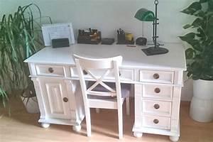 Landhaus Schreibtisch Weiß : arbeiten im charme des landhauses schreibtisch in wei massiv aus holz ~ Markanthonyermac.com Haus und Dekorationen