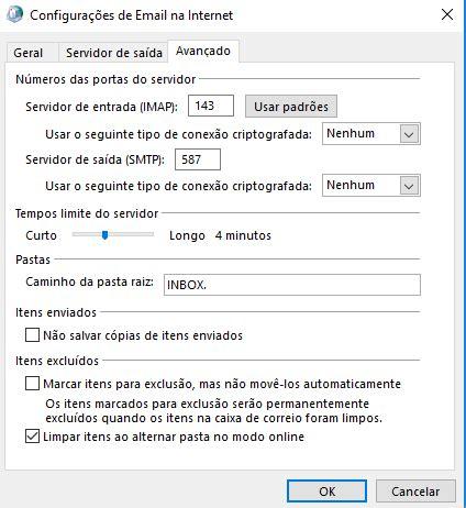 porta standard smtp configurando uma conta mandic mail no microsoft outlook
