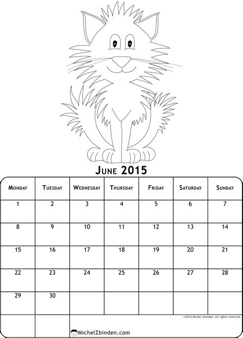 monthly calendar coloring pages   print