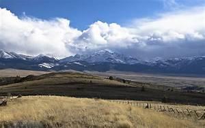 Beautiful Snowy Mountains Clouds Field Desktop Wallpaper