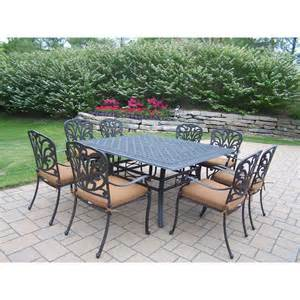 oakland living cast aluminum 9 piece square patio dining