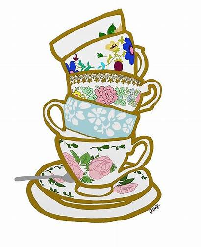 Stacked Teacups Clipart Drawing Wolfe Priscilla Tea