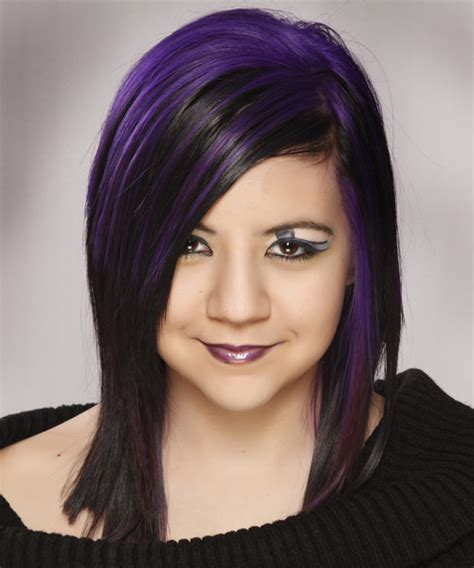 And Black Two Tone Hairstyles by Medium Alternative Hairstyle Black And Purple