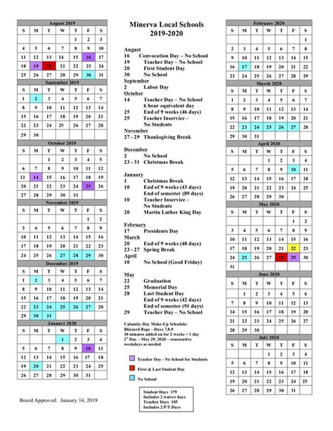 district calendar minerva high school