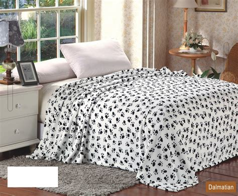 Super Soft Polyester Microplush Black & White Dalmation Paw Print Blanket Blanket Chest With Drawers What Size Is A 50 X 60 Electric Warming Blankets Insulation Price Beach Bingo 1965 Western Horse Toddler Pillow And Saddle Bag