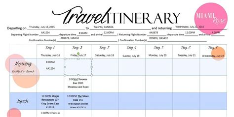 6 Travel Itinerary Templates Word Excel Templates