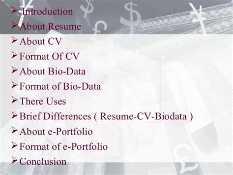 resume cv bio data differences e portfolio
