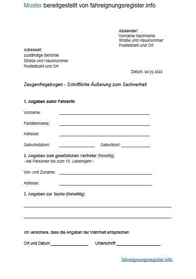 zeugenfragebogen nicht zurücksenden zeugenfragebogen im bu 223 geldverfahren faer info 2018