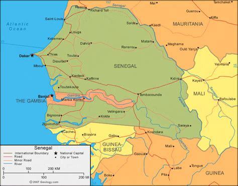 Senegal Map and Satellite Image