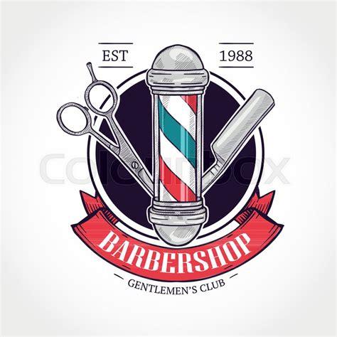 colors barber shop color barbershop logo with scissors stock vector