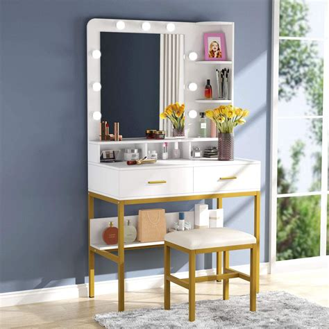 tribesigns makeup vanity dressing table with 9 lights