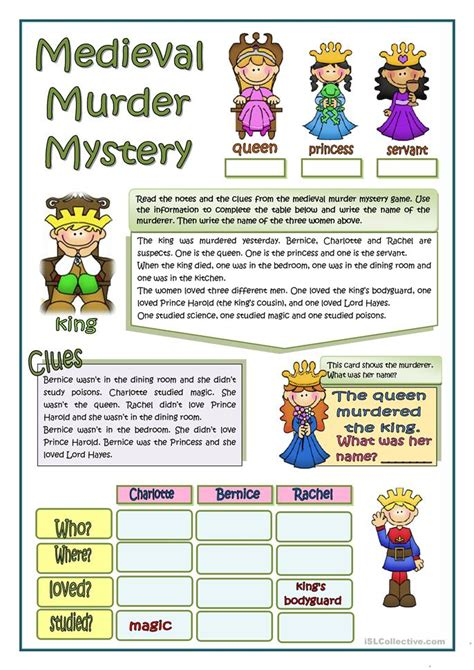 medieval murder mystery worksheet free esl printable worksheets made by teachers
