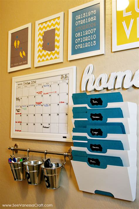 kitchen office organization ideas organization family command center towel holders markers and buckets