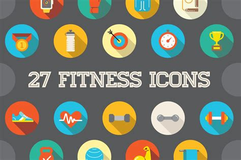 awesome  flat vector fitness icons icons creative market