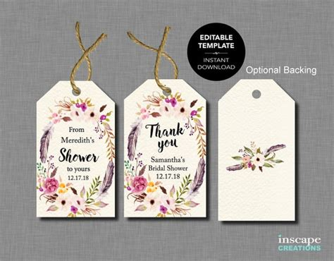 boho editable bridal shower favor tags template rustic