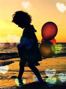 Child with Balloons Silhouette