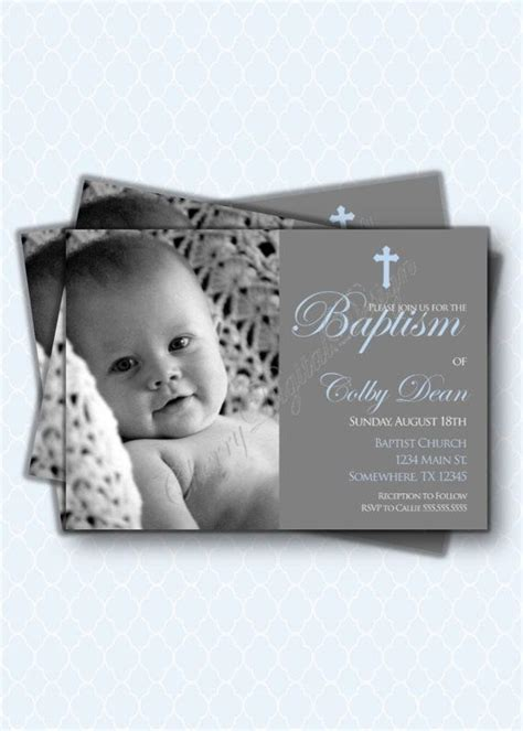 Beautiful and simple baptism invitations with picture