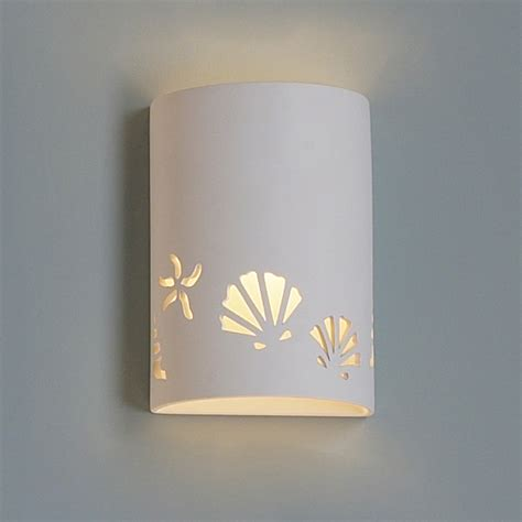 9 quot seashore themed ceramic cylinder sconce