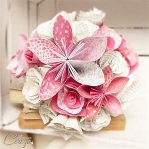 Fleur De Papier : bouquet mariage atypique fleurs de papier original rose rouge ~ Farleysfitness.com Idées de Décoration