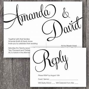 diy printable wedding invitation and rsvp printable With wedding invitation print font