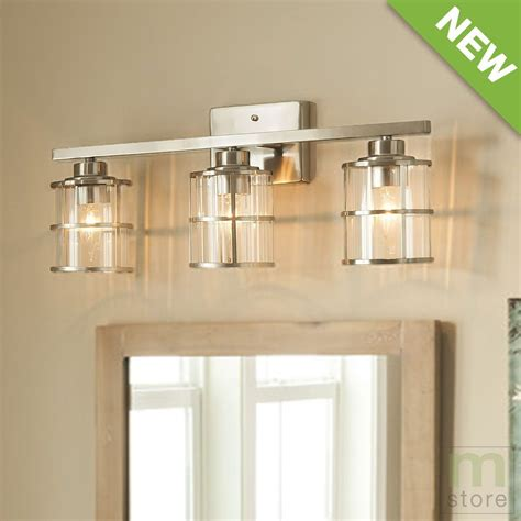 details  bathroom vanity  light fixture brushed