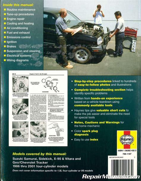 hayes auto repair manual 1998 chevrolet tracker auto manual suzuki samurai sidekick x 90 vitara chevrolet geo tracker 1986 2001 haynes repair manual