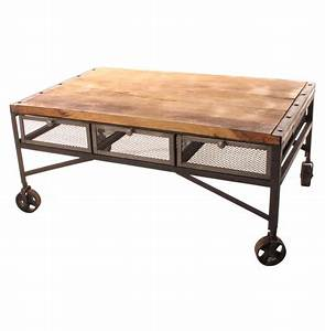 tribeca industrial mesh drawer caster wheel coffee table With coffee table with caster wheels