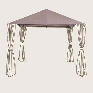 Toile Pour Tonnelle 3x3 : toile de remplacement toit pour tonnelle shamal taupe ~ Dailycaller-alerts.com Idées de Décoration