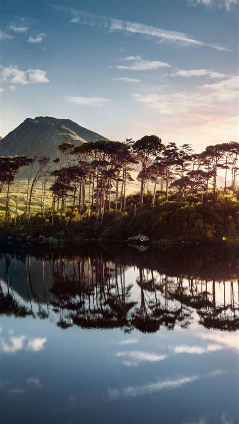 wallpaper ireland lake mountains tree sunrise