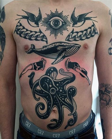 octopus chest tattoo designs  men oceanic ink ideas