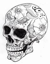 Coloring Skull Sugar Tattoo Printable Side Adults sketch template