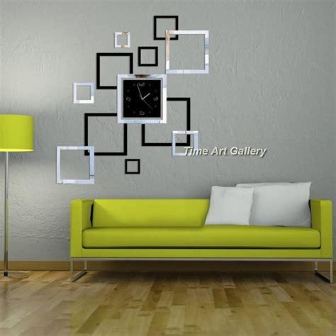 unique home decorationmirror effect frame wall clock