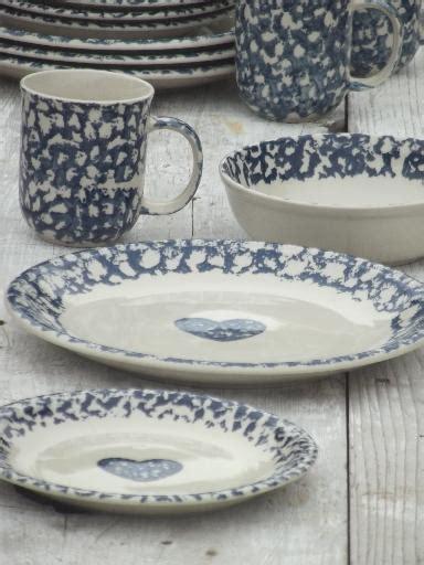 folkcraft hearts spongeware pottery tienshan china dishes