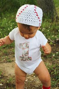 Baby boy 1st Birthday outfit one piece bodysuit and crochet hat set baseball sports photo ...