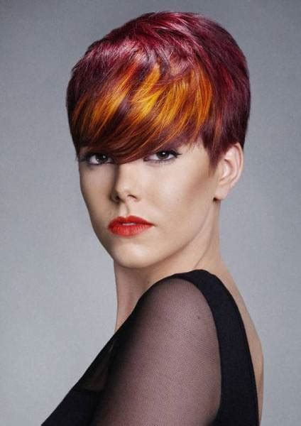 This hairstyle consists of short and medium length layers. Ombre Red Hair Color For Short Hair | Short Hairstyles 2015