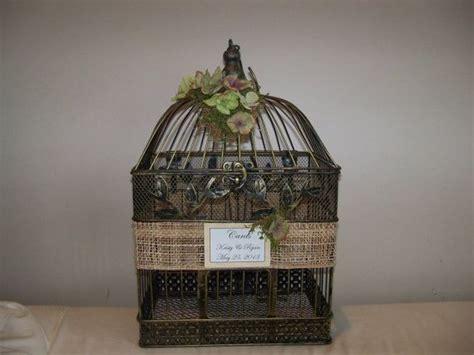wedding card box birdcage card holder antique gold raffia