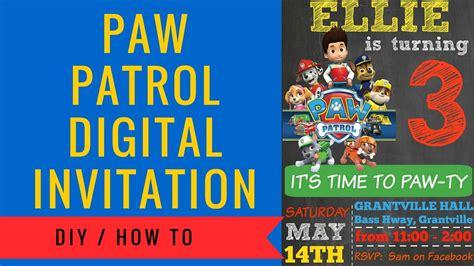 free paw patrol invitation template paw patrol digital invitation how to make includes free clipart